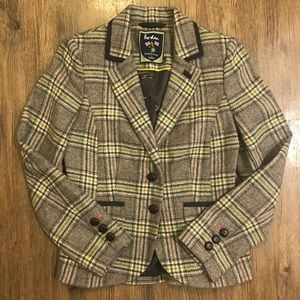 Boden Thick Fall Checked Plaid Tweed Blazer
